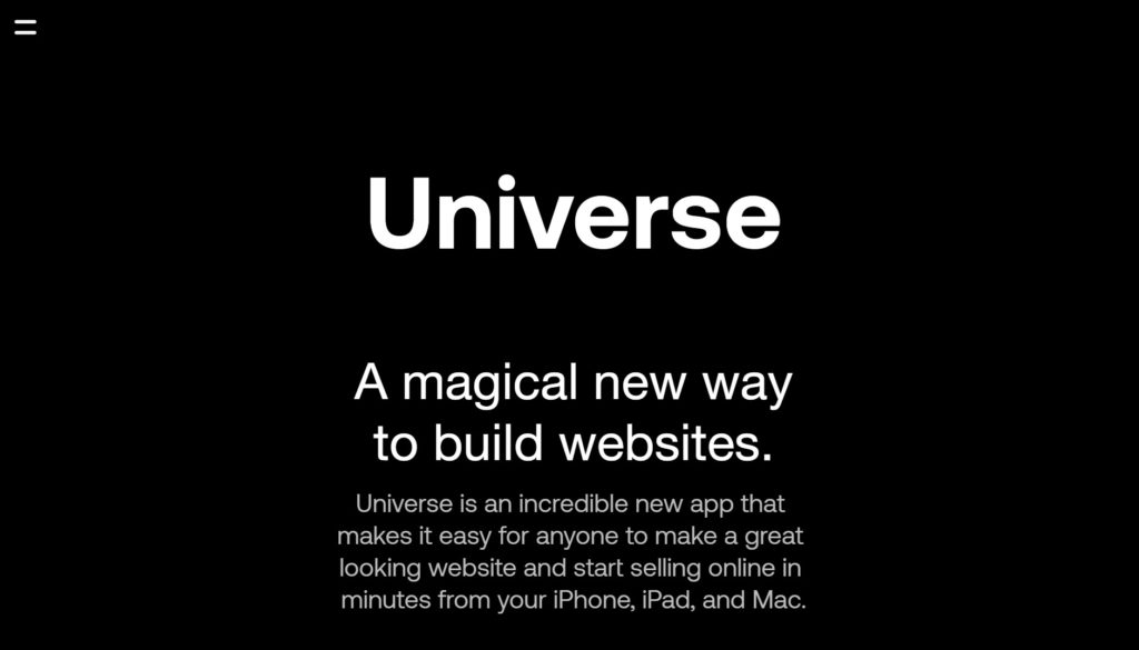 Universeの公式サイトトップページ画像