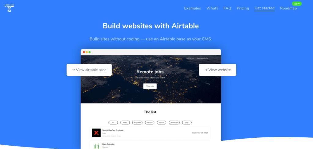 Table2Siteの公式サイトトップページ画像