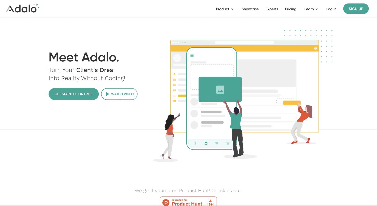 Adaloのランディングページのスクリーンショット