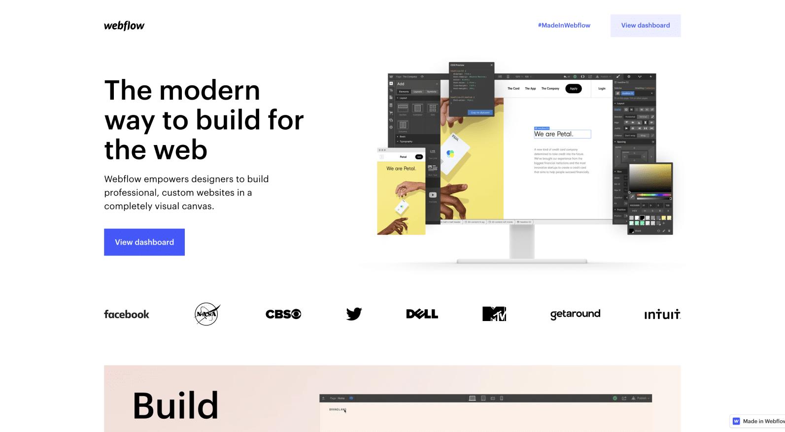 Webflowのランディングページのスクリーンショット