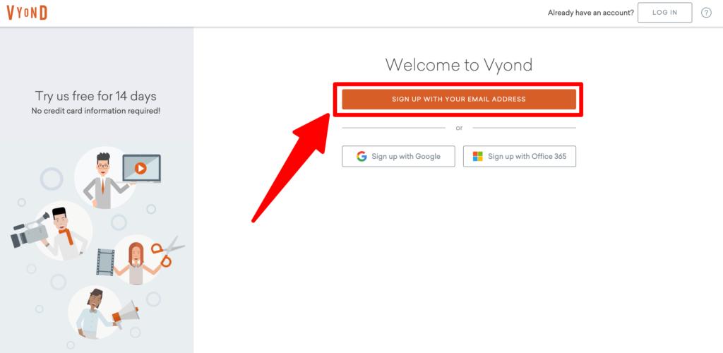 Vyond新規登録画面のスクリーンショット