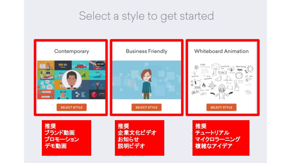 Vyondのスタイル選択のスクリーンショット
