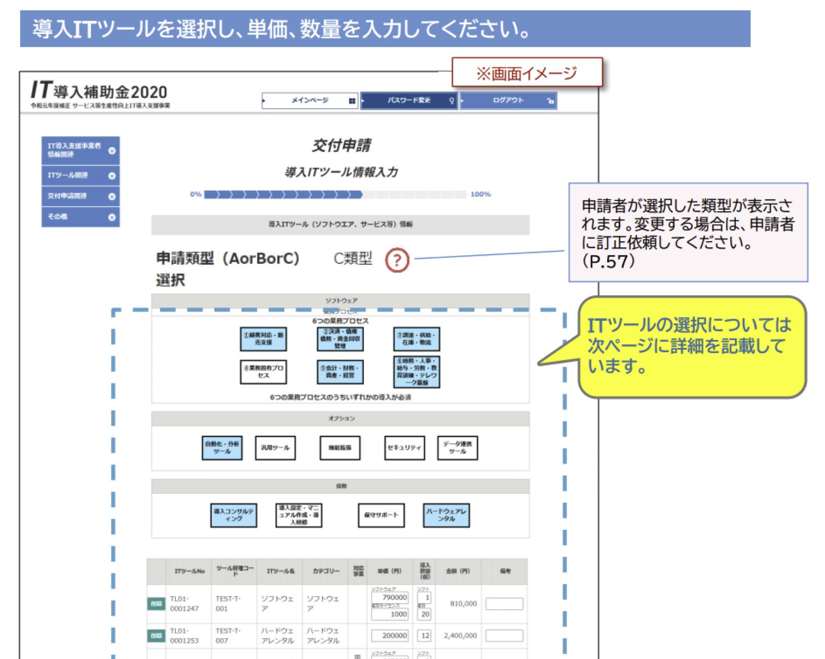 IT導入補助金交付申請ツール情報入力のスクリーンショット