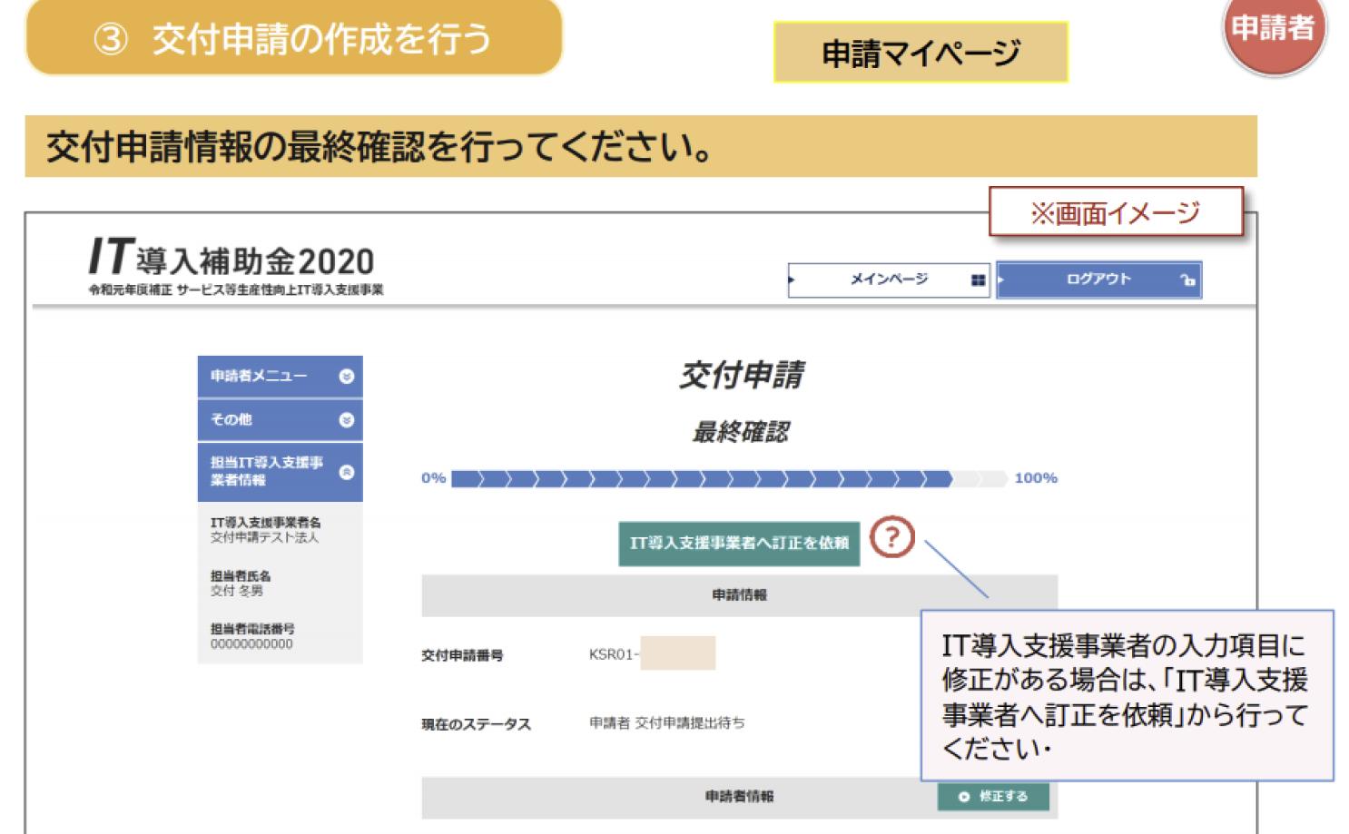 IT導入補助金交付申請提出のスクリーンショット