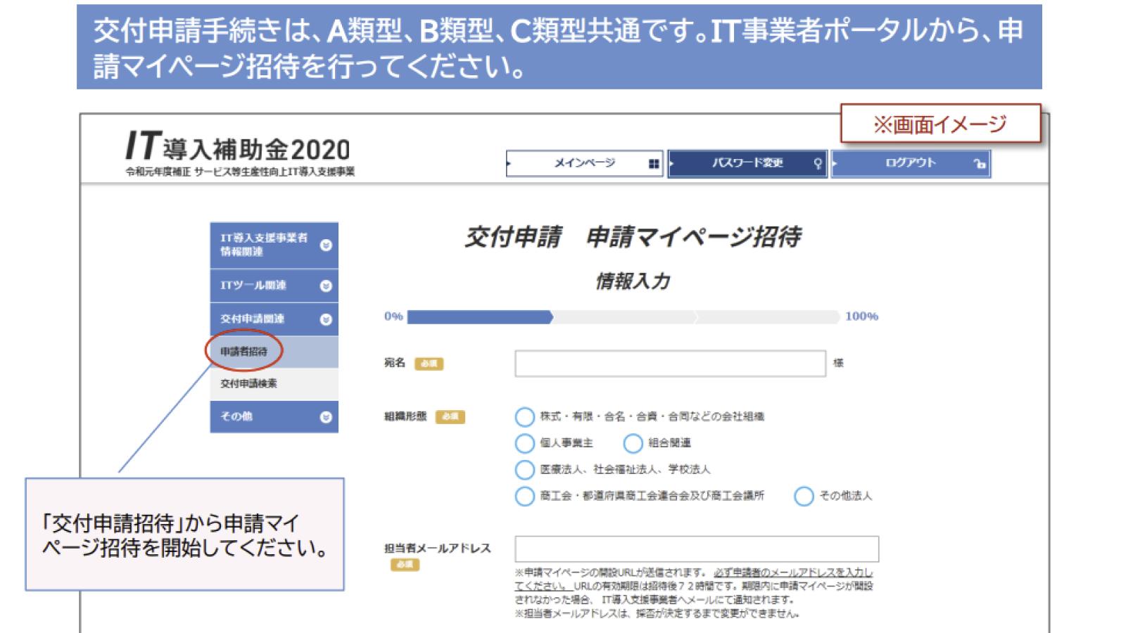 IT導入補助金申請マイページ招待のスクリーンショット