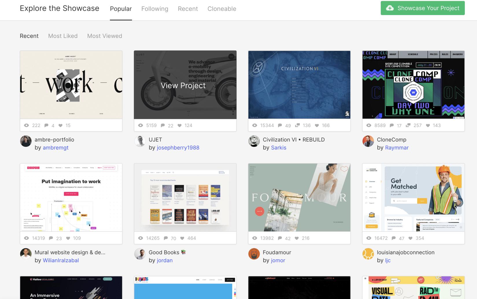 Webflowのshowcaseのスクリーンショット