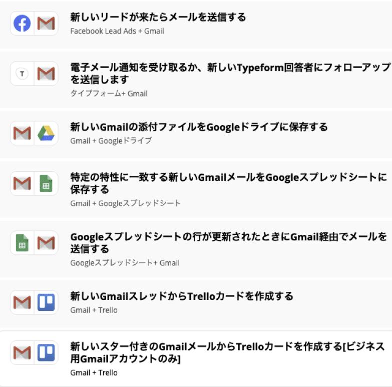 ZapierのGmail連携事例のスクリーンショット