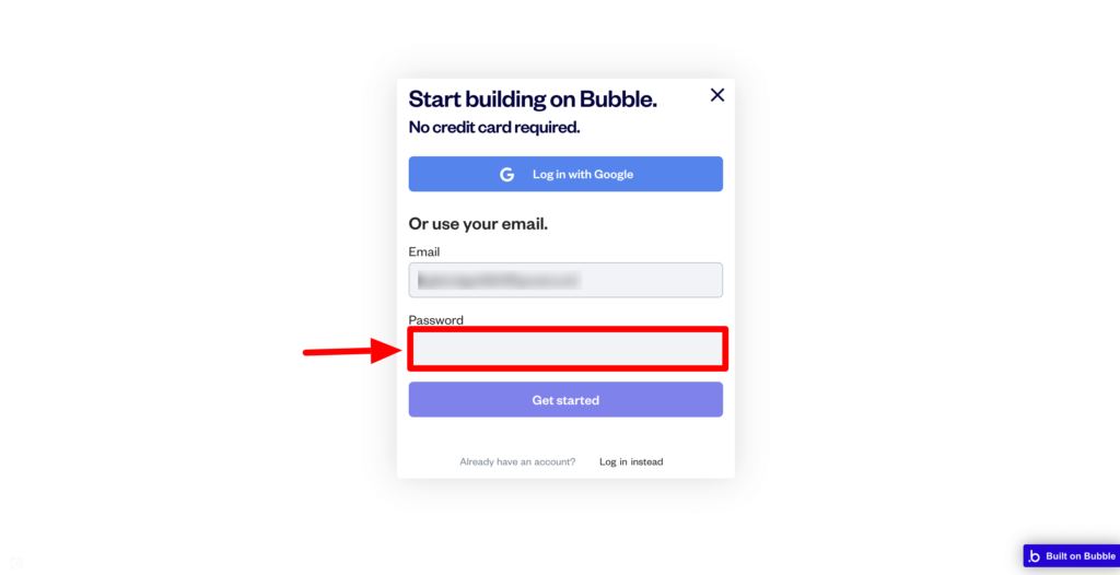 bubbleパスワード設定画面のスクリーンショット