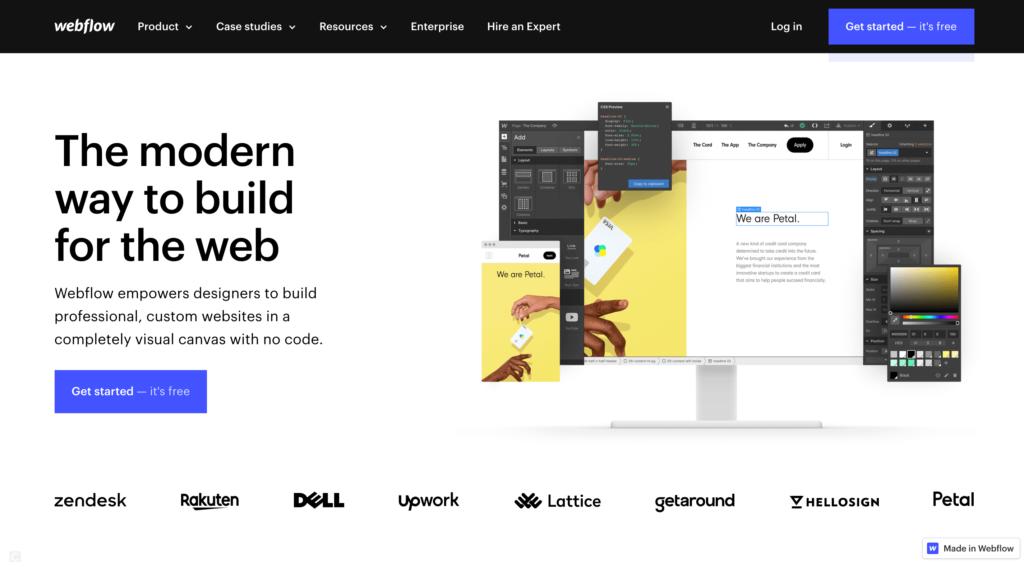 Webflowの公式サイトトップページ画像