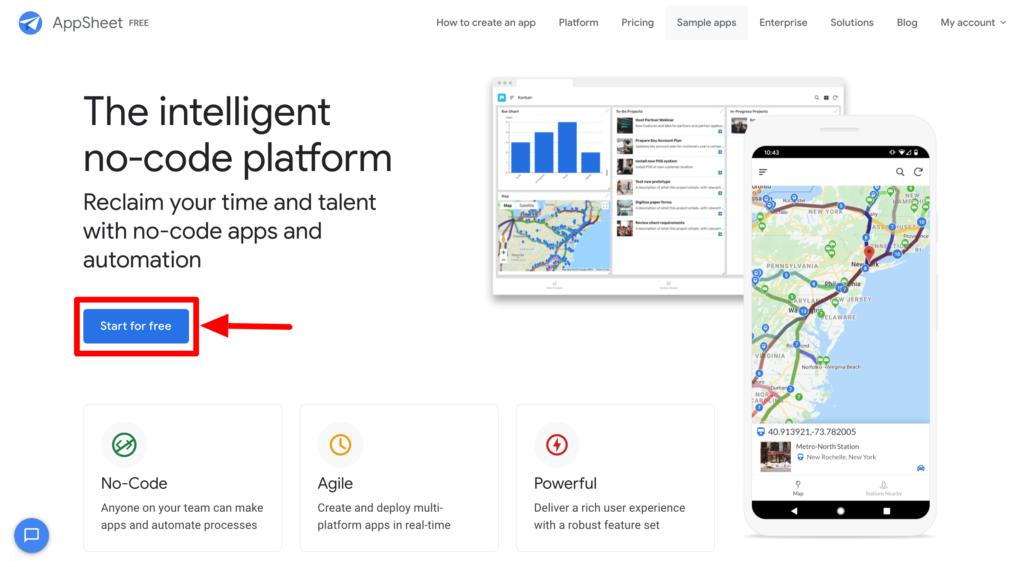 AppSheetのアカウント開設方法のスクリーンショット