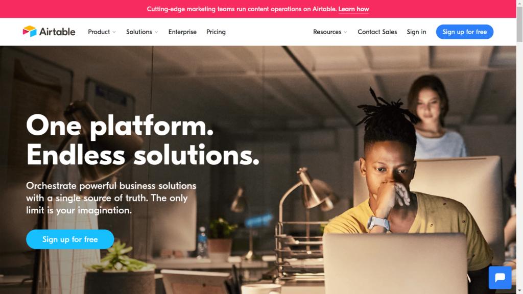 Airtableの公式サイトトップページ画像