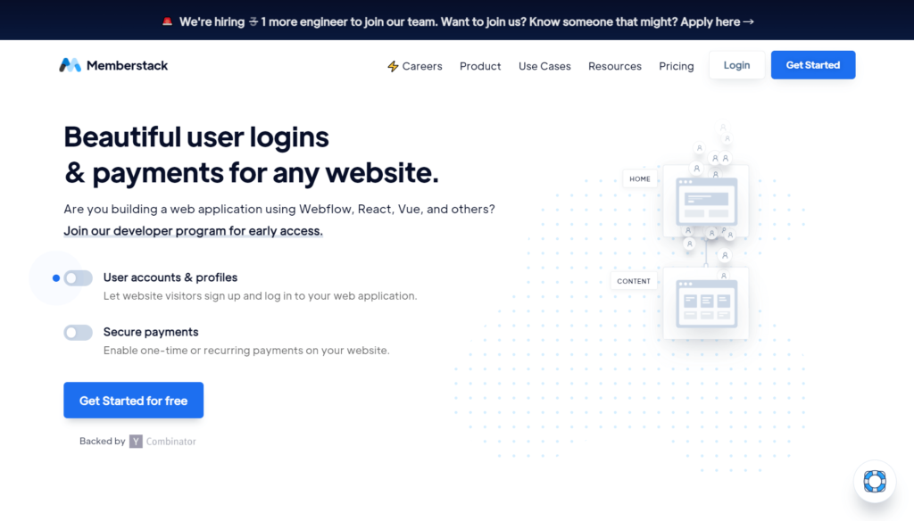 MemberStackの公式サイトトップページ画像
