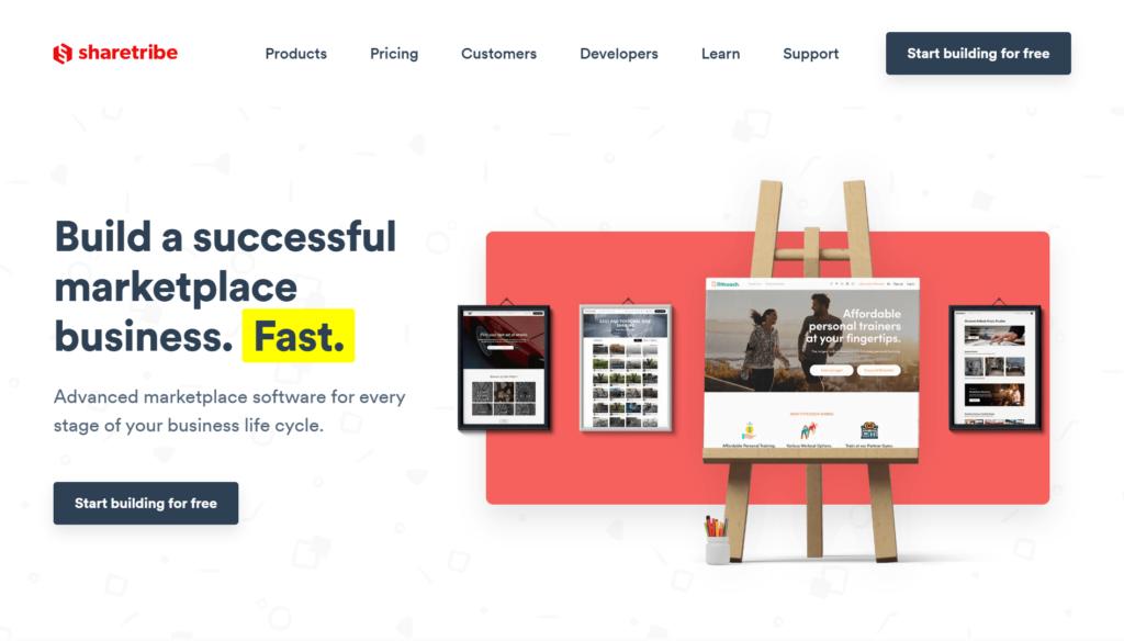 Sharetribeの公式サイトトップページ画像