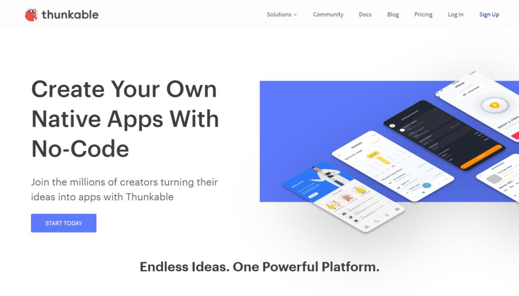 Thunkableの公式サイトトップページ画像