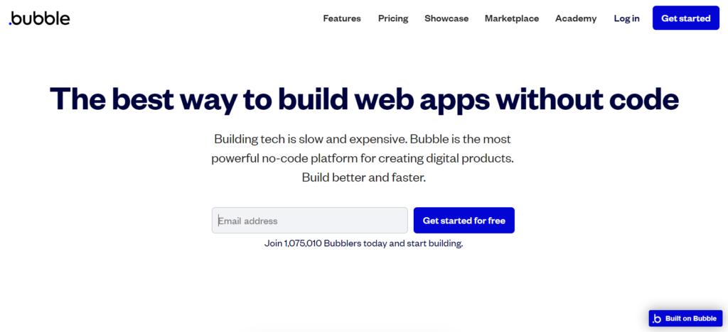 bubbleの公式サイトトップページ画像