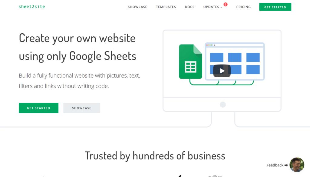 Sheet2Siteの公式サイトトップページ画像
