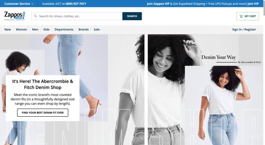 Zappos公式サイトトップページ画像